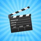 Realistic Cinema clapper. Movie making. Film industry. Cinematography concept. Vector illustration Royalty Free Stock Photos