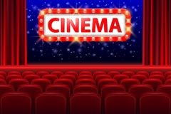 Realistic cinema hall interior with red seats. Retro style cinema sign with spot light frame. Movie premiere poster vector illustration