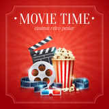 Realistic cinema movie poster. Template with film reel, clapper, popcorn, 3D glasses, with bokeh background Royalty Free Stock Photography