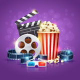 Realistic cinema movie poster. Template with film reel, clapper, popcorn, 3D glasses, conceptbanners with bokeh Royalty Free Stock Image