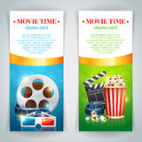 Realistic cinema movie poster. Template with film reel, clapper, popcorn, 3D glasses, conceptbanners with bokeh Stock Image