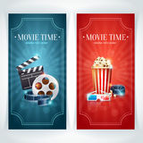 Realistic cinema movie poster. Template with film reel, clapper, popcorn, 3D glasses, conceptbanners with bokeh Royalty Free Stock Photos