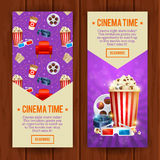 Realistic cinema movie poster template. With film reel, clapper, popcorn, 3D glasses, conceptbanners with bokeh Stock Images