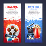 Realistic cinema movie poster template. With film reel, clapper, popcorn, 3D glasses, conceptbanners with bokeh Royalty Free Stock Photo