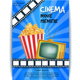 Realistic Cinema Poster. Movie Premiere. Template Banner with TV. Popcorn, Clapper and Film. Vector Detailed Illustration on Blue Background. Eps 10 Royalty Free Stock Photo