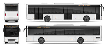 Realistic City Bus template isolated on white background. Passenger City Bus mockup side, front and rear view. Transport. Realistic City Bus template isolated on Stock Photography