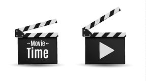 Realistic clapper.cinema.Board on a white background.film.time. Royalty Free Stock Photo