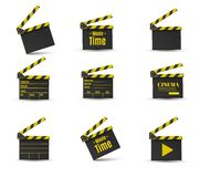 Realistic clapper.cinema.Board on a white background.film.time. Royalty Free Stock Photos