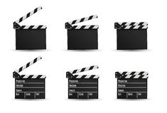 Realistic clapper.cinema.Board on a white background.film.time. Royalty Free Stock Images