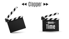 Realistic clapper.cinema.Board on a white background.film.time. Royalty Free Stock Image