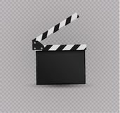 Realistic clapper.cinema.Board on a white background.film.time. Stock Photos