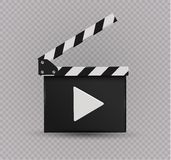 Realistic clapper.cinema.Board on a white background.film.time. Stock Images