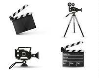 Realistic clapper.on a white background.film.time.vector illustration. Royalty Free Stock Images
