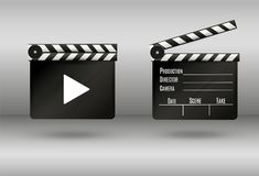 Realistic clapper.cinema.Board on a white background.film.time.vector illustration. Realistic clapper.cinema.Board on a white background.film.timevector Royalty Free Stock Photography