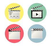 Realistic clapper.cinema.Board on a white background.film.time.vector illustration. Realistic clapper.cinema.Board on a white background.film.timevector Stock Photos