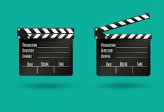 Realistic clapper.cinema.Board on a white background.film.time.vector illustration. Realistic clapper.cinema.Board on a white background.film.timevector Royalty Free Stock Photo