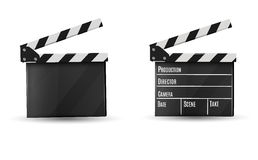 Realistic clapper.on a white background.film.time.vector illustration. Royalty Free Stock Image