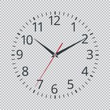 Realistic classic black round wall clock icon isolated on transparent background. Stock Photo