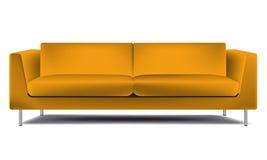 Realistic classic orange sofa  on white background vector illustration Stock Photo