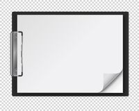 Realistic clipboard with a few blank white sheets of paper. Template or mock up for text and design. Empty paper notes, top view. Vector illustration royalty free illustration