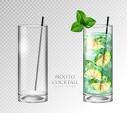Realistic cocktail mojito on transparent background. Full and empty glass. Realistic cocktail mojito vector illustration on transparent background. Full and vector illustration