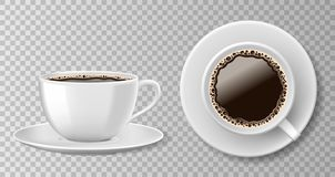 Realistic coffee cup top view isolated on transparent background. White blank mug with black coffee and saucer. Vector. Illustration EPS 10 stock illustration