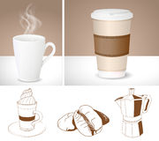 Realistic coffee cups and outlines of Coffee maker, latte and co Stock Images