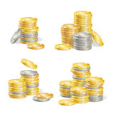 Realistic Coin Stack Set. Vector Stock Photo