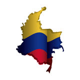 Realistic colombian map with colorful flag inside Stock Photography
