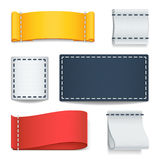 Realistic color blank fabric labels, badges with stitching vector set Royalty Free Stock Images