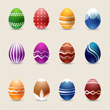 Realistic color Easter eggs vector set stock illustration
