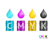 Realistic Color Metall Can Bucket and Drop Set. Vector. Realistic Color Metall Can Bucket and Drop Set CMYK Concept for Web. Vector illustration Royalty Free Stock Photo