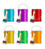 Realistic Color Steel Can Bucket and Paint Brush. Vector Royalty Free Stock Photo