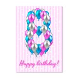 Realistic colored balloons on the eighth birthday. pink, silver, blue. Pink stripe greeting card with white stars. Vector illustration. realistic colored Stock Images