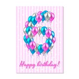Realistic colored balloons on the sixth birthday. pink, silver, blue. Pink stripe greeting card with white stars. Vector illustration. realistic colored Royalty Free Stock Images