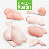 Chicken Meat Transparent Icon Set. Realistic colored chicken meat transparent icon set with fresh pieces of chicken vector illustration Stock Photo