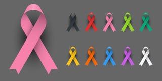Realistic Colorful Awareness Ribbons Design Element Banner Emblem Sign Symbol stock photo