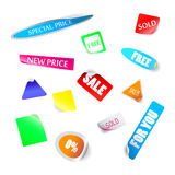 Realistic colorful badges and stickers Royalty Free Stock Photos