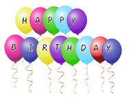 Realistic colorful balloons with sign text happy birthday vector. Eps10 illustration, concept of happy birthday party celebration Royalty Free Stock Images