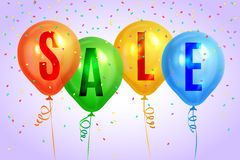 Realistic colorful balloons with text `Sale`.Background for special offer Stock Photo