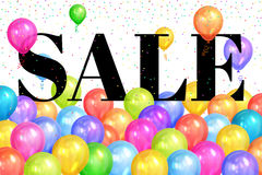 Realistic colorful balloons with text & x22;Sale& x22;.Background for special offer Royalty Free Stock Photos