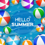 Realistic Colorful Beach Balls - Rubber or Plastic Material. Stock Image