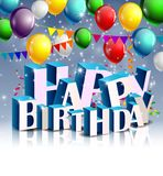 Realistic colorful Birthday background with balloon Stock Image