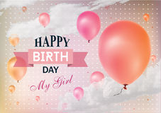 Realistic colorful Birthday greeting card. With balloons and confetti Royalty Free Stock Images