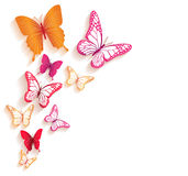 Realistic Colorful Butterflies Isolated for Spring Stock Photo