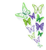 Realistic Colorful Butterflies Isolated for Spring Royalty Free Stock Images