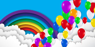 Realistic Colorful 3d Balloons fly to sky. Royalty Free Stock Photography