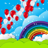 Realistic Colorful 3d Balloons fly to sky. Royalty Free Stock Photos