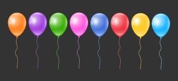Realistic colorful balloons set. Balloon collection. Realistic colorful 3d balloons set. Balloon collection. 3d colorful balloons set Stock Images