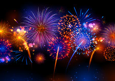 Realistic colorful Fireworks. Illustration of Realistic colorful Fireworks royalty free illustration